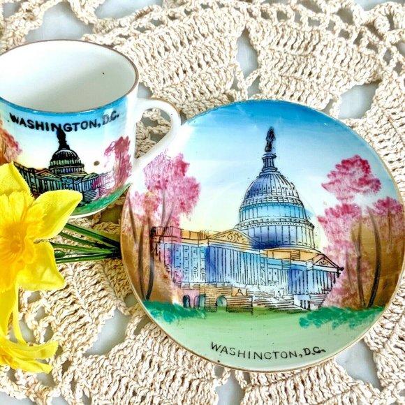 Washington DC Small Tea Cup Saucer Cherry Blossom